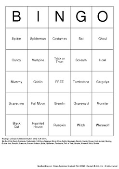 Halloween Bingo Cards - 25 Unique Pages