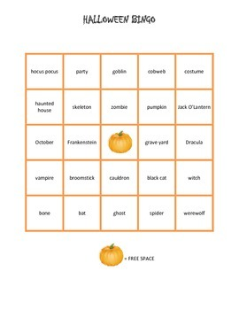Halloween Bingo Cards with Call Word Cards