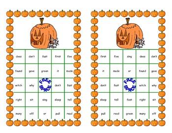 Halloween Bingo Game- Sight Words for Second Grade