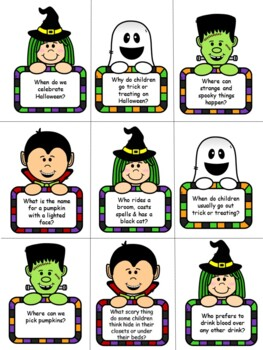 Halloween Bingo Game WH questions