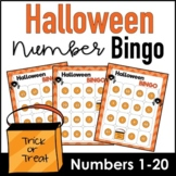 Halloween Bingo Game : Number Recognition from 1 to 20