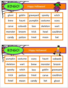 Halloween Bingo - Halloween themed words by DAILY DI | TpT
