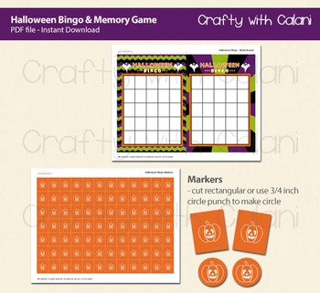 Halloween Bingo & Memory Game, Halloween Themed Bingo Game Printable