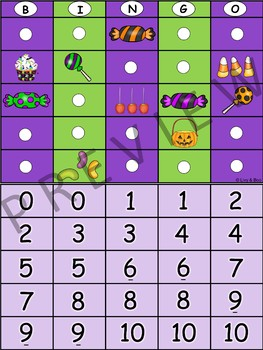 Halloween Bingo  - Number Recognition / Counting To 10
