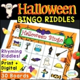 Halloween Bingo Riddles Game Speech Therapy and Halloween