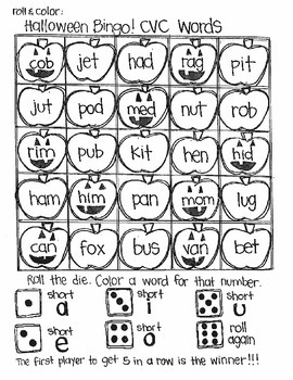 Halloween Bingo:  Short and Long Vowel Words