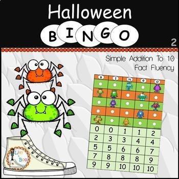 Halloween Bingo - Simple Addition To 10 - Fact Fluency
