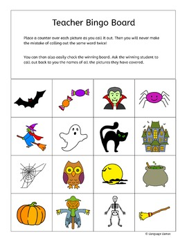 Halloween Bingo for ESL EAL EFL MFL