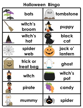 Halloween Bingo for Primary Grades