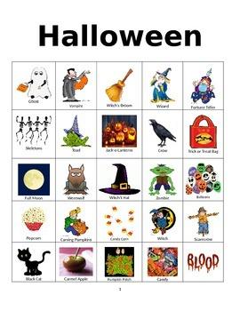 Halloween Bingo or Word Cards
