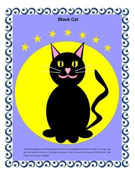 Spooky Halloween Black Cat Art Project - Cut, Paste, Assemble