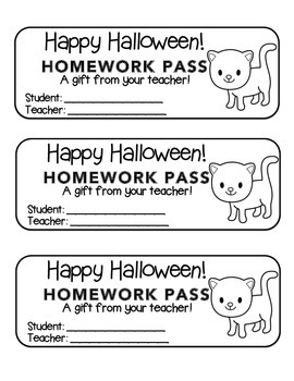 """Halloween"" Black Cat - Homework Pass –Holiday FUN! (black line version)"