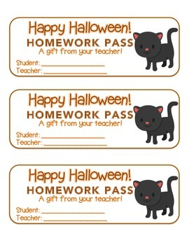"""Halloween"" Black Cat - Homework Pass –Holiday FUN! (color & black line version)"