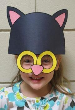 Halloween Black Cat or Farm Orange Tabby Cat Sentence Strip Mask
