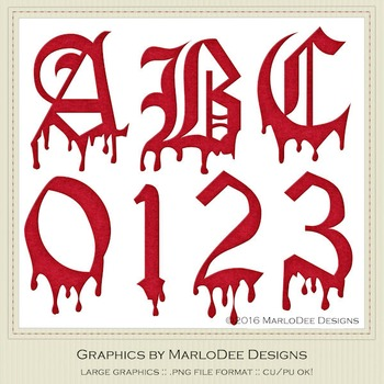 Halloween Blood Look Letter & Number Graphics