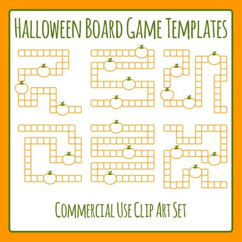 Halloween Board Game Templates Clip Art Set for Commercial Use