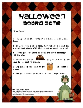 Halloween Board Game With Letter Sounds, CVC Words, and Blank Cards