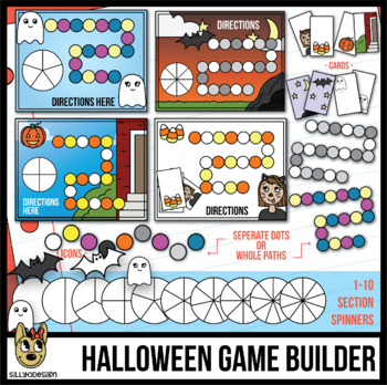 Halloween Board Game Builder Template Clip Art - for Cards or Spinners