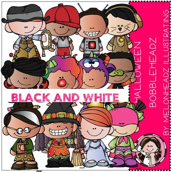 Halloween clip art - Bobbleheadz - BLACK AND WHITE- by Melonheadz