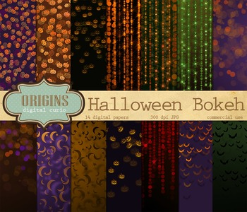 Halloween Bokeh Confetti Digital Scrapbook Paper Backgrounds
