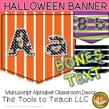 Halloween Bones Alphabet Banner Classroom Learning Decor