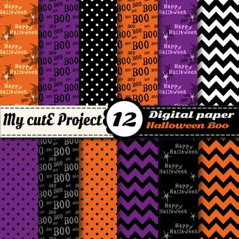 Halloween Boo Digital Paper - Scrapbooking - Witches, Boo, polka dots, chevron