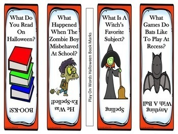 FREE   Halloween Bookmarks {Using Figurative Language and Play on Words}