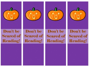 Halloween Bookmarks, Reading Gifts for Students