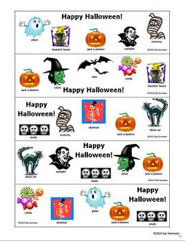 Halloween Bookmarks With and Without Vocabulary Words 5 Designs