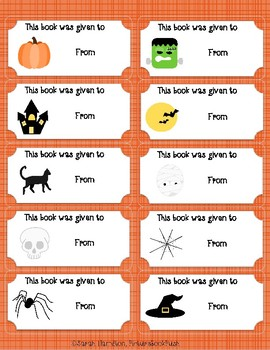 Halloween Bookplates Fillable PDF - This Book was Given to