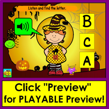 Boom Cards™ Halloween Alphabet Capital Letter Recognition - With Sound!