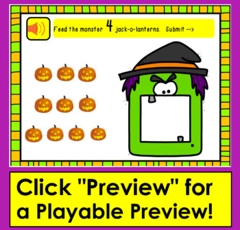 Boom Cards™ Halloween Counting to 10 - Feed The Halloween Monsters!