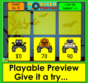 Boom Cards™ Halloween Skip Counting By 10 to 100 With Halloween Monster Trucks