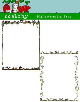 Halloween Borders / Frames 300dpi Transparent Color Black Lined Grayscale