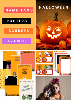 Halloween Borders, Frames, Posters and Name tags.