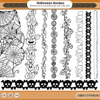 Halloween Border ClipArt, Spider Web Illustration, Skull and Crossbone, Pumpkins