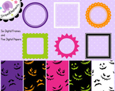 Halloween Bright Clip Art Frames and Paper Pack