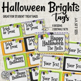 Halloween Brights Treat tags - Editable