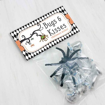 Halloween Bugs and Kisses Treat and Favor Bag Toppers for Halloween Parties