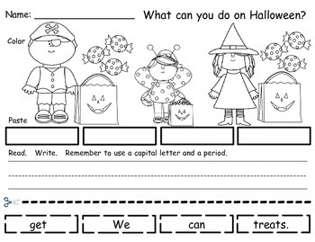 Halloween - Build A Sentence FREEBIE