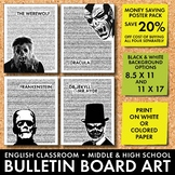Halloween Bulletin Board Decor, Poster 4-Pack, Monsters from Classic Literature
