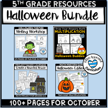 Halloween Bundle 5th Grade Math, Writing, Project Based Learning, and Games!