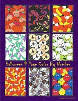 Halloween Bundle 9 Page Color By Number Pumpkins, Candy Corn, Ghosts, and more