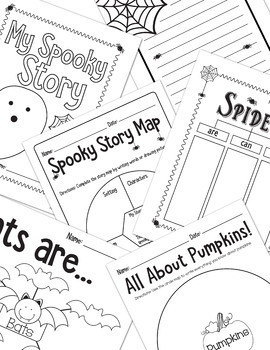 Halloween Activities Bundle-No Prep Maps for Thinking, Writing, Decor & More K-3