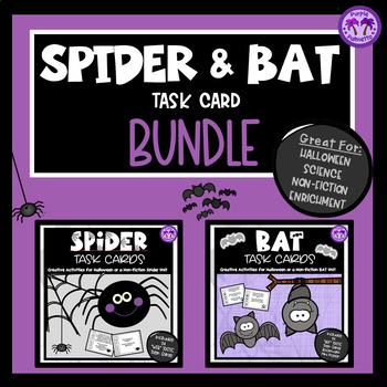 Halloween Bat Task Cards and Spider Task Cards BUNDLE (Non Fiction Text)
