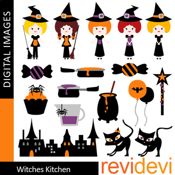 Halloween Bundle Clipart / Halloween Witch & Friends Clip Art / Commercial Use