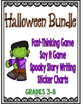 Halloween Activities Bundle: 2 Games, 2 Writing Activities, and Sticker Charts