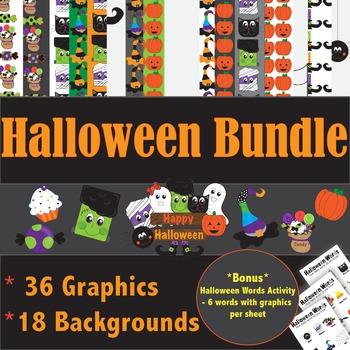 Halloween Bundle! Graphics and Backgrounds * bonus activity*