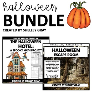 Halloween Bundle: Halloween Themed Math Project & Escape Room