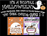 Halloween Bundle Mostly Ghostly ! 100 math task cards and Spooky Spider's Game!